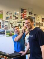 Laktatmessung: Trainer Bernhard Schimpl mit Tobias Hinterdorfer